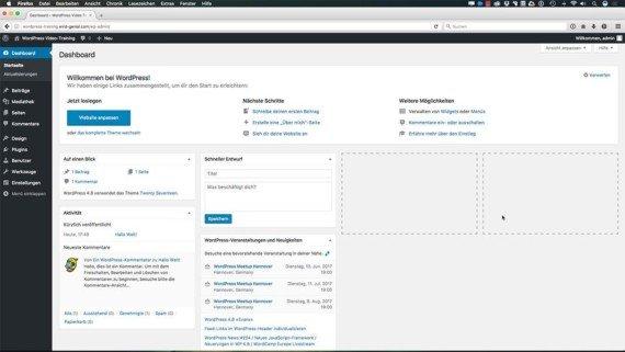 WordPress Kurs - WordPress Oberfläche und Funktionen